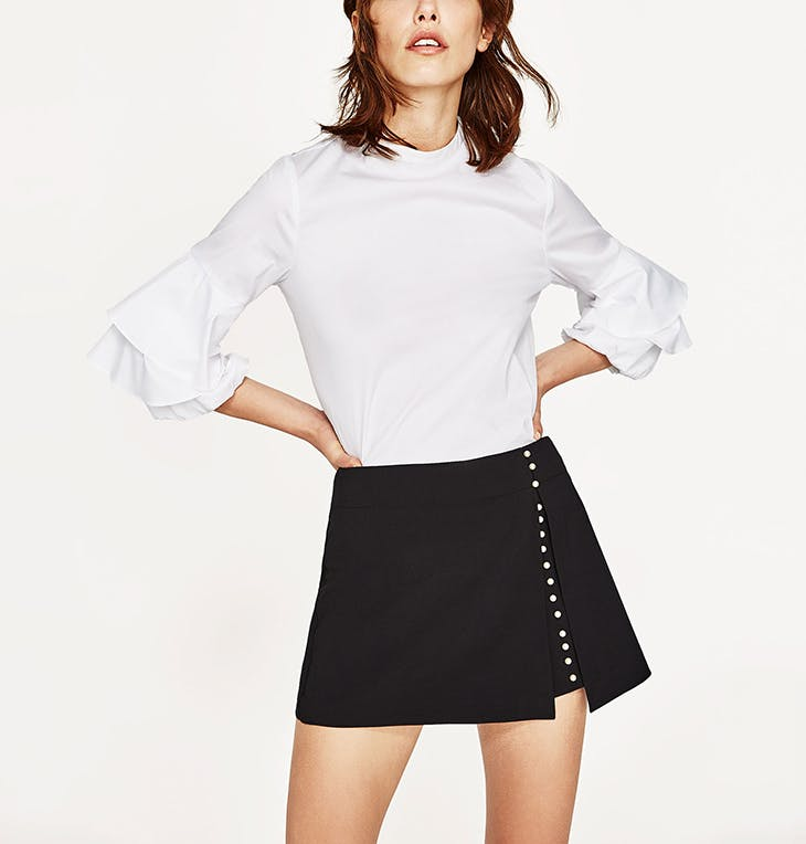 falda pantalon blanca zara